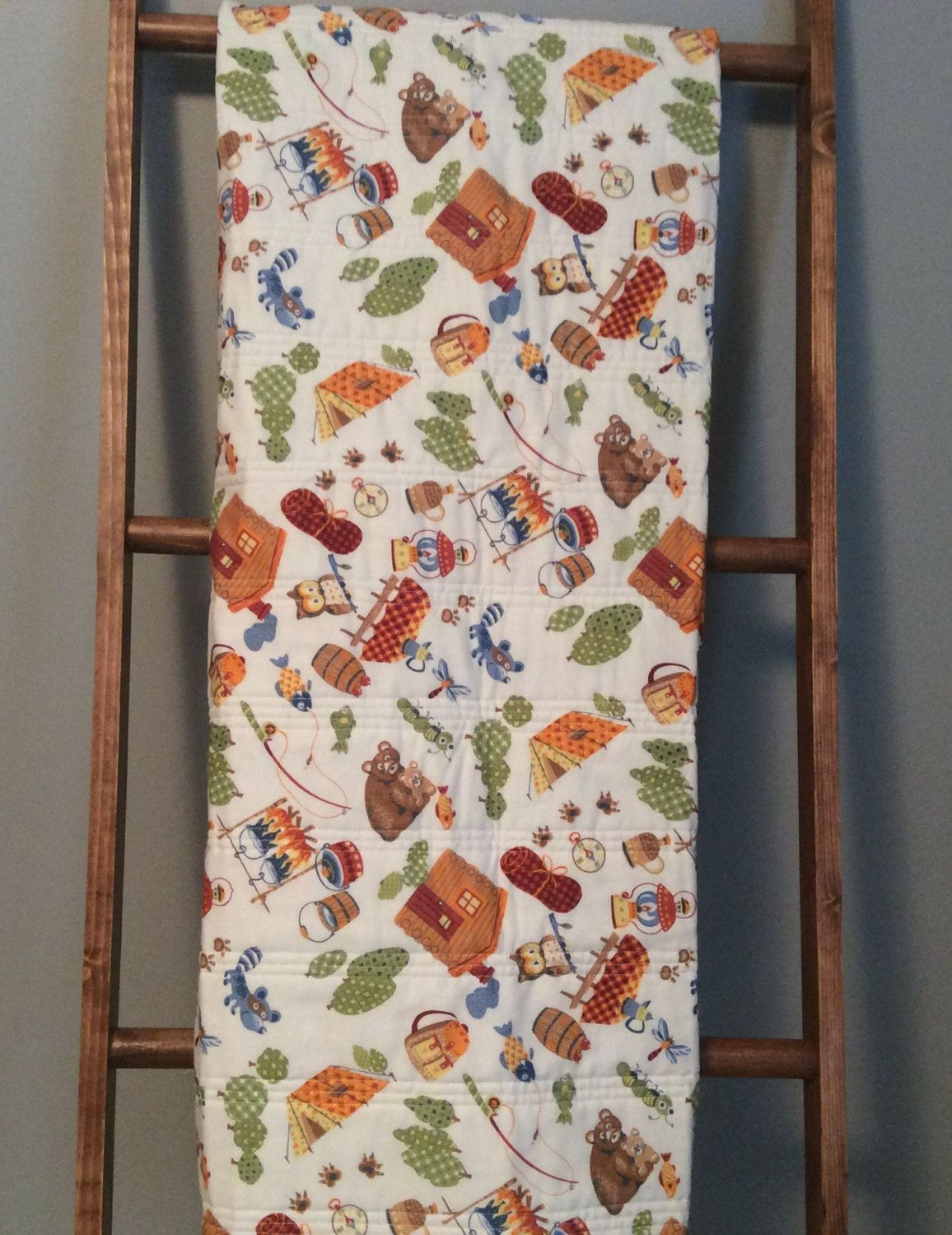 Baby quilt, gender neutral baby quilt, retro baby quilt,woodland ... : handmade baby boy quilts - Adamdwight.com