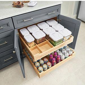 Roll-Out Tray Organizer without Canisters #kitchenstorage