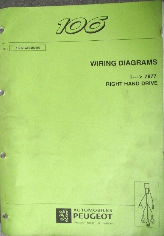 Peugeot 106 Wiring Diagram Manual 1998 1302 98
