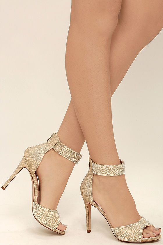 62e05a01f Every modern day Cinderella needs the Ella Nude Pearl Ankle Strap Heels!  Metallic gold and beige fabric is artfully decorated with faux pearls over  a ...
