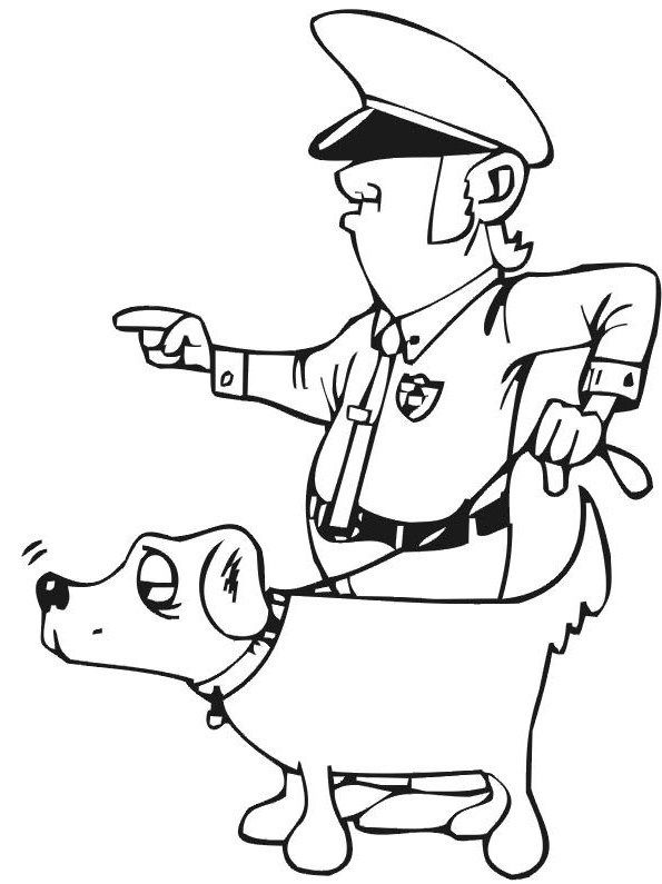 Pictures Policeman And Dog Coloring Pages For KidsColoring BooksAfrican