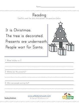 Christmas Reading Comprehension Worksheet | 1st grade HS ...