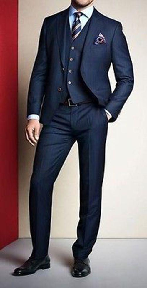 Slim Fit Groom Tuxedos Tailcoat Best Man Suits Wedding Groomsman 3 ...