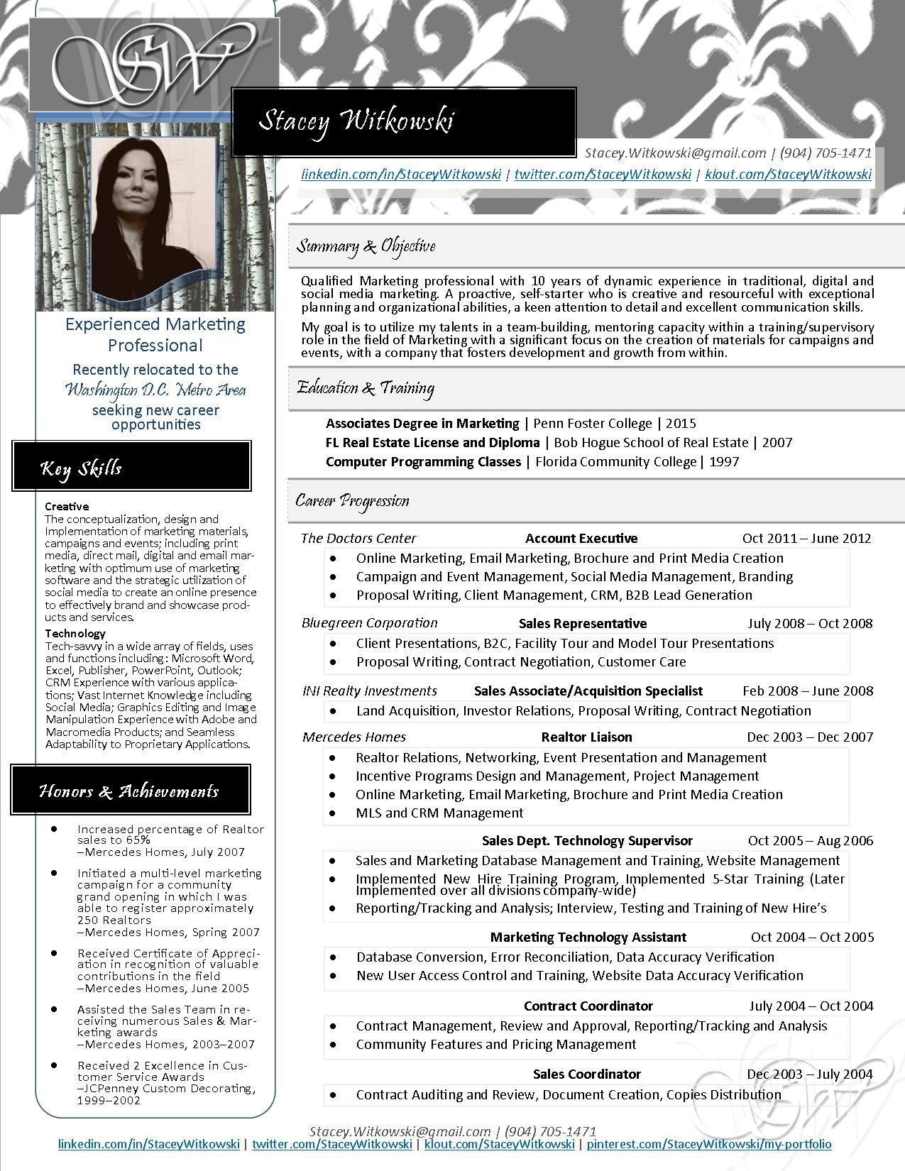 New One Page Resume Design Stacey Witkowski 2013 Myresume