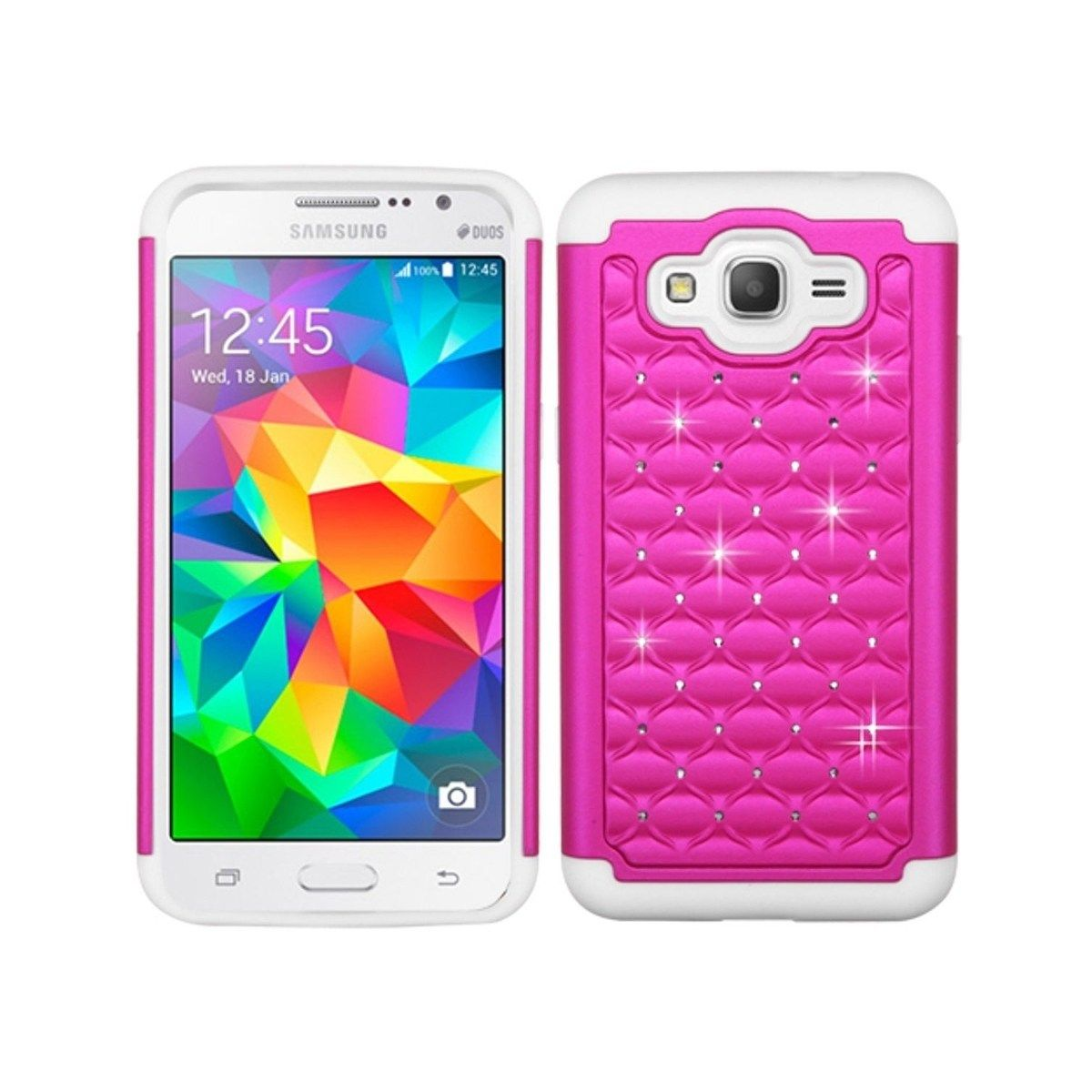 Insten Pink White Fullstar Dual Layer Hybrid Pc Tpu Rubber Case Cover W Diamond For Samsung Galaxy Grand Prime Grand Prime Plus Samsung Galaxy Best Smartphone Cool Bluetooth Speakers