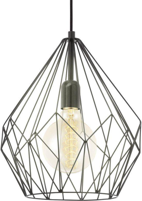 eglo vintage carlton hanglamp 1 lichts à 310mm zwart