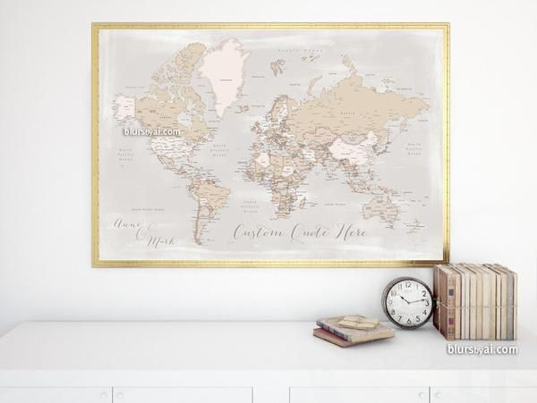 Custom quote printable world map with cities in rustic style color printable world map poster in this rustic and vintage inspired color combination featuring your favorite quote and sent to you as printable jpg publicscrutiny Gallery