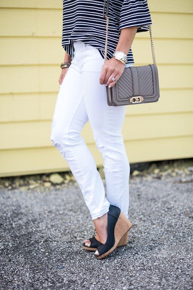 Honey We're Home: Spring Favorite | White Distressed Denim & Bell Sleeve Top Cork Wedge Pump Quilted Bag