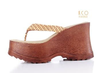 5ae968df6ad 90 s Platform Sandals Soda Chunky Wedge Mule Woven Thongs Vintage Shoes  Women s Size US 7