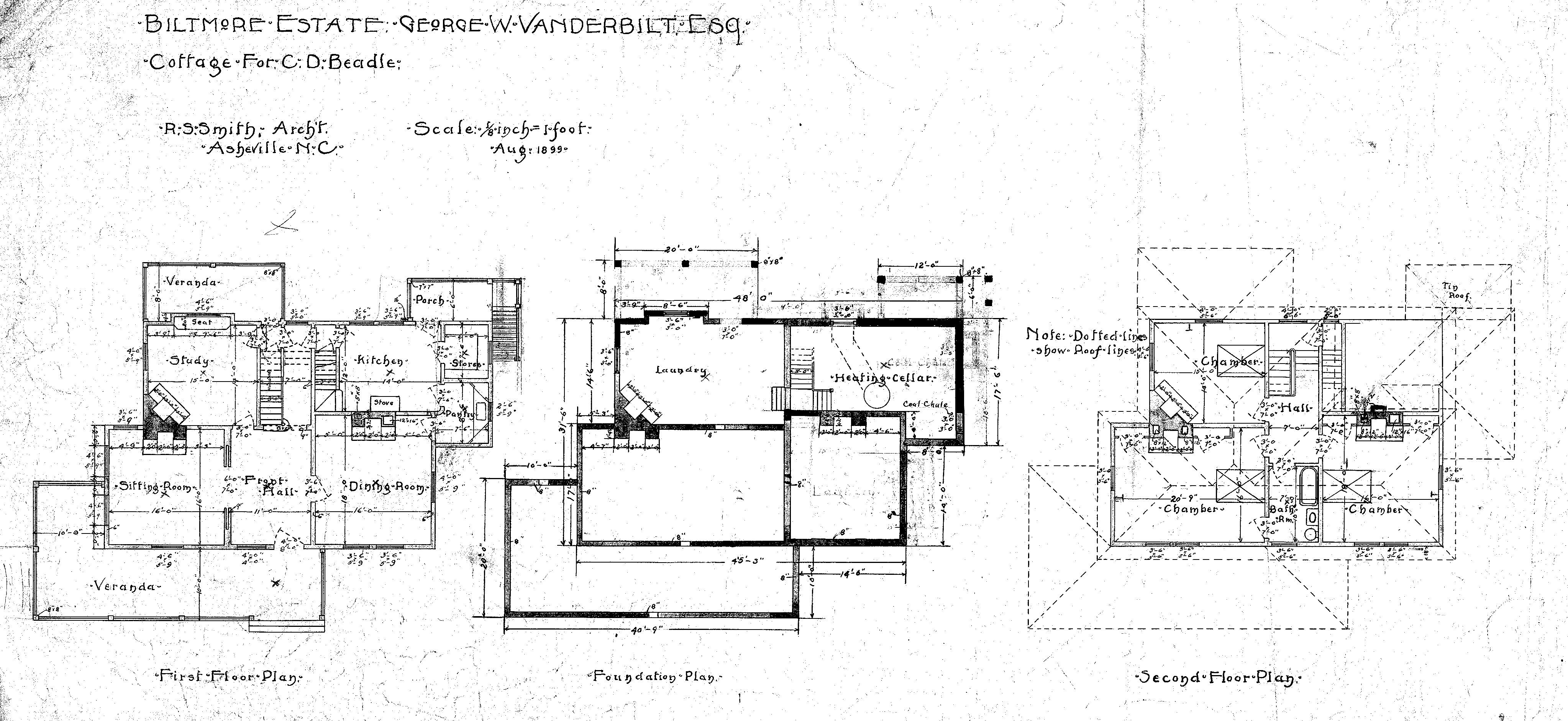 Cottage For C D Beadle First Floor Foundation Second Floor Plan Floor Plans Second Floor How To Plan