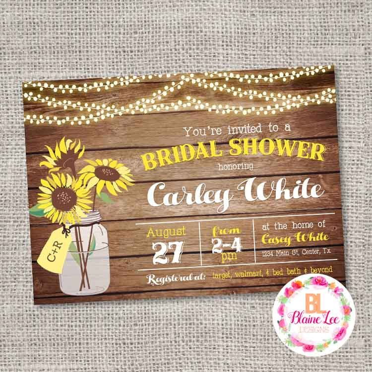 bridal shower invitation pictures%0A Rustic Sunflower Bridal Shower Invitation Digital File by BlaineLeeCo on  Etsy https