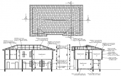 Roof plan and section plan layout file   block   Roof plan
