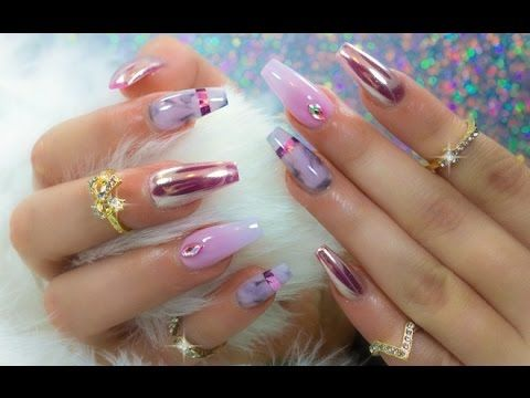 Chrome Marble And Ombre In One Set Of Nails Nails Pinterest