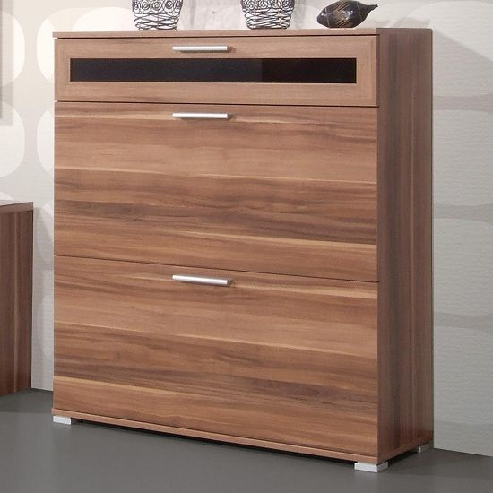 Diano Wooden Shoe Storage Cabinet In Walnut With 3 Compartment For The Home Pinterest And Cabinets