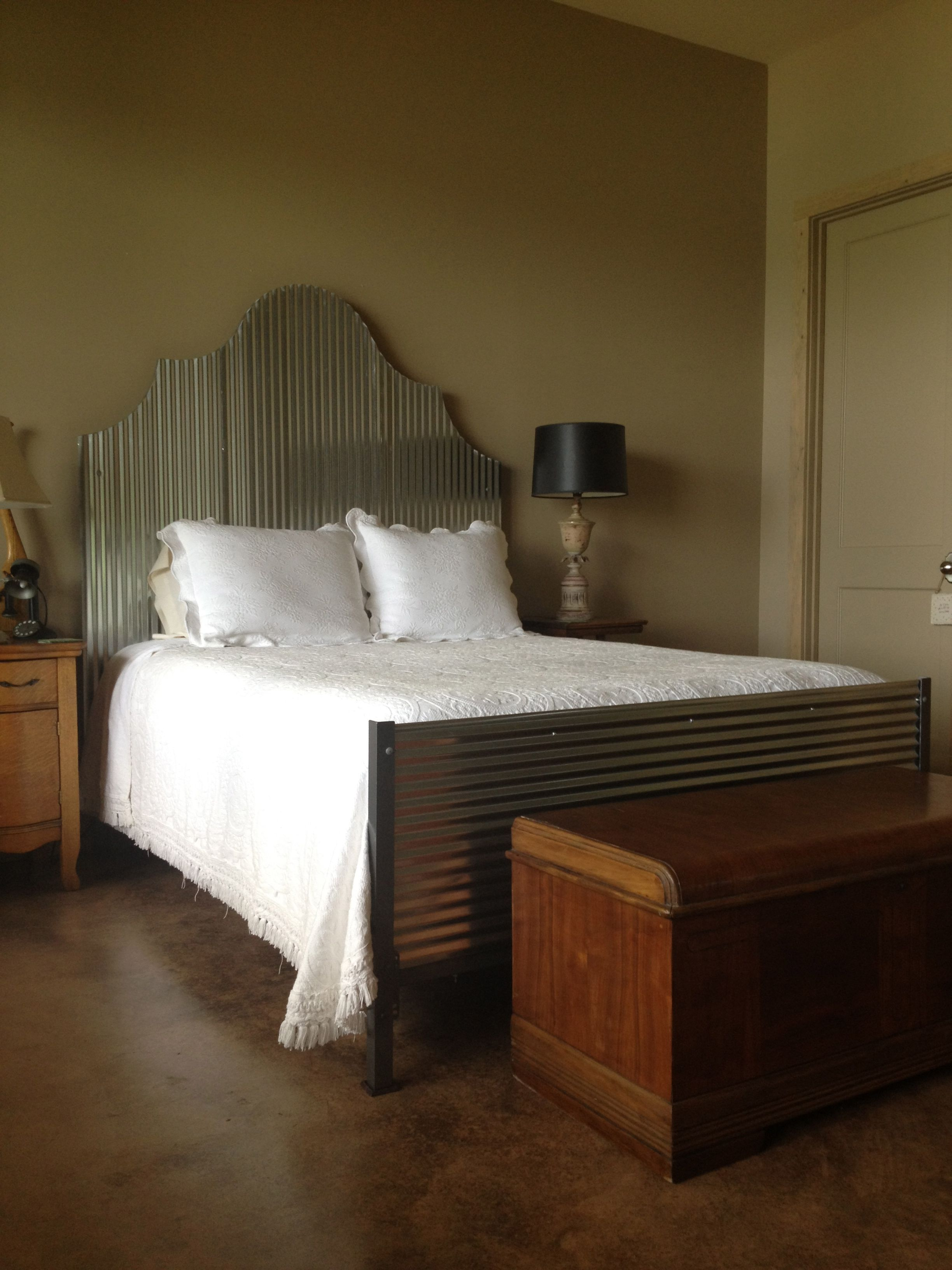corrugated tin headboard and footboard would make the master rh pinterest com