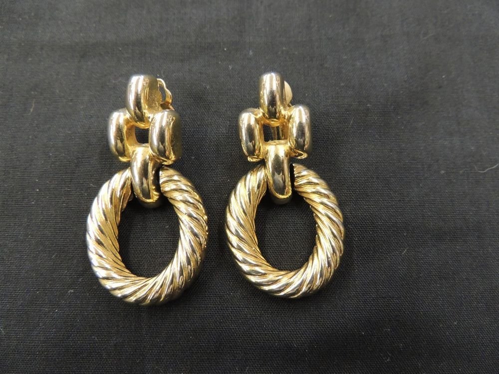 Vintage Designer Givenchy All Goldtone Rope Hoop Clip Earrings Paris New York