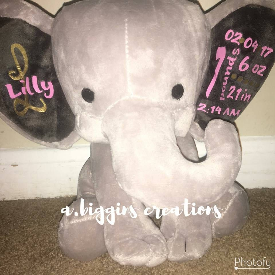 Personalized birth stat elephabt by abigginscreations on etsy personalized elephant made to order with babys name and birth stats this keepsake is a great gift for new baby christening birthday and more negle Gallery