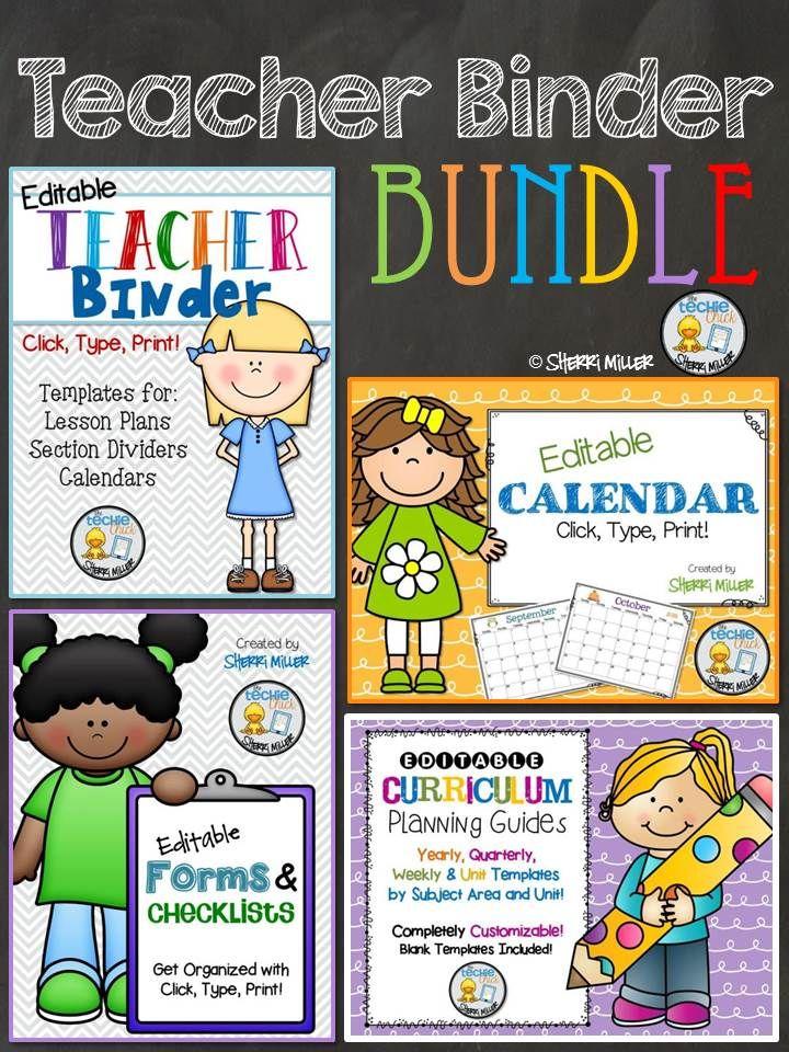 Editable Teacher Binder BUNDLE \u2013 Click, Type, Print Templates
