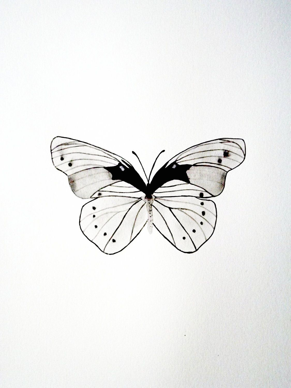 Original Watercolor Butterfly Black White Gray