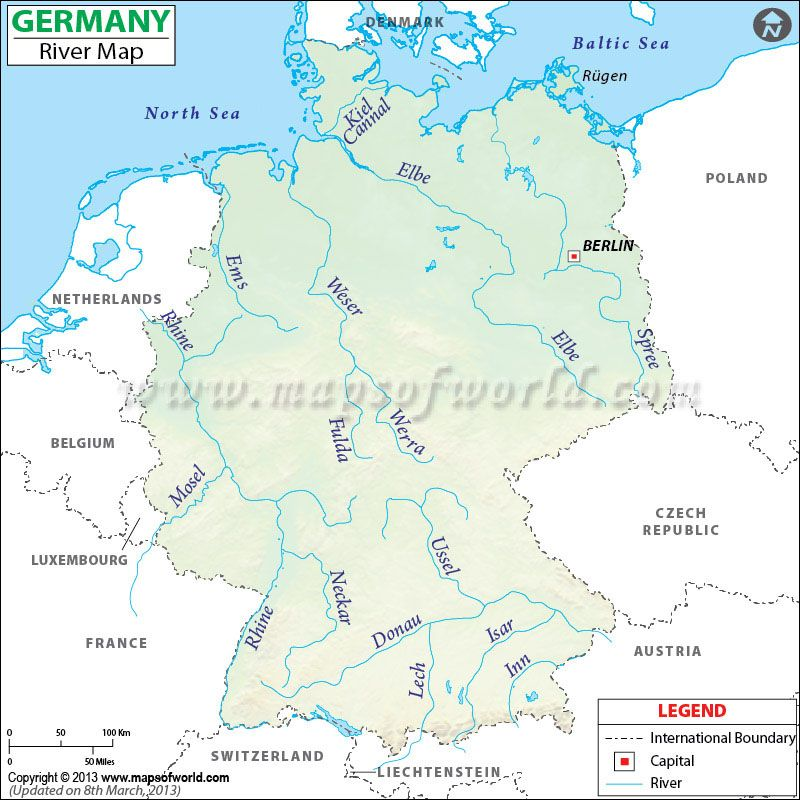 Germany River Map showing the lake and river routes in Germany ...