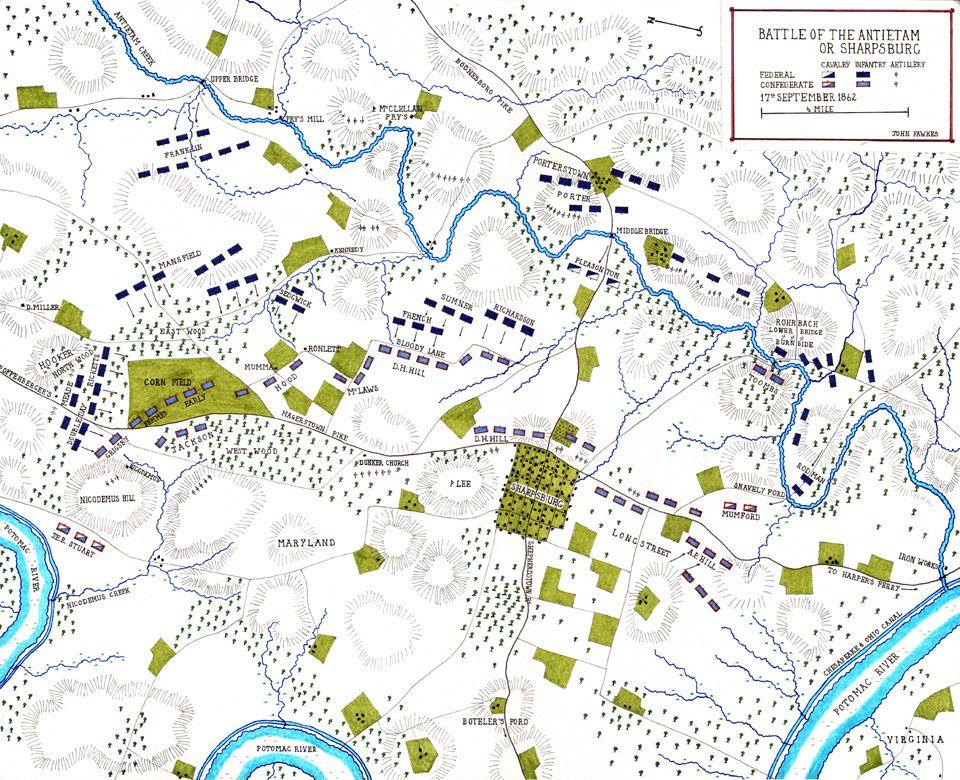 American Civil War Battle Of Antietam Sharpsburg Path - Antietam battle us map