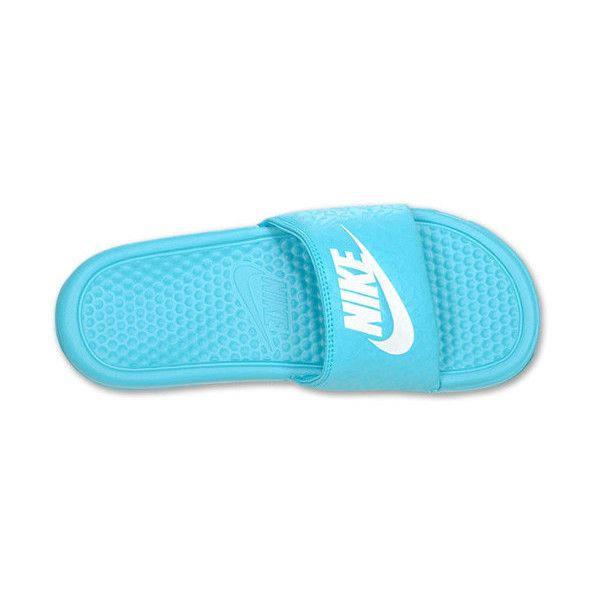 273c4310281e Nike Benassi JDI Swoosh Women s Slide Sandals ( 22) ❤ liked on Polyvore  featuring shoes