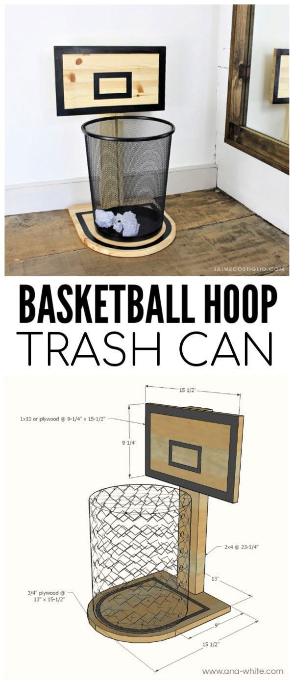 DIY Basketball Hoop Trash Can  This basketball hoop trash can would be a fun and practical gift for a young son or nephew via Jaime
