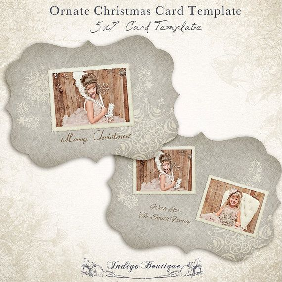 Ornate Christmas Card Template 5x7 Photo Card By Indigoboutique Christmas Card Template Christmas Cards Photo Card Template