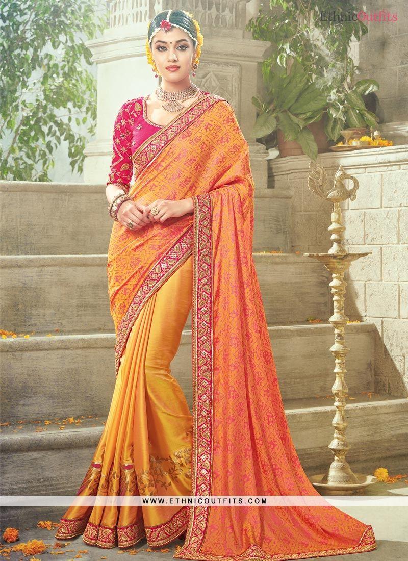 Sensible satin resham work traditional designer saree sarees