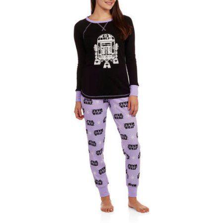 3fb5dfe21a Star Wars Women s License Pajama Thermal Sleep Top and Pant 2 Piece Sleepwear  Set
