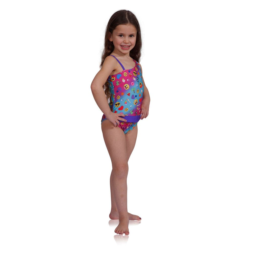 2ac18fbb0bb50 Cool one-piece bathing suits for girls: Emoji Swimsuit BY FASTEN Swimwear  Kids swimwear with magnets for faster and easier bathroom breaks.