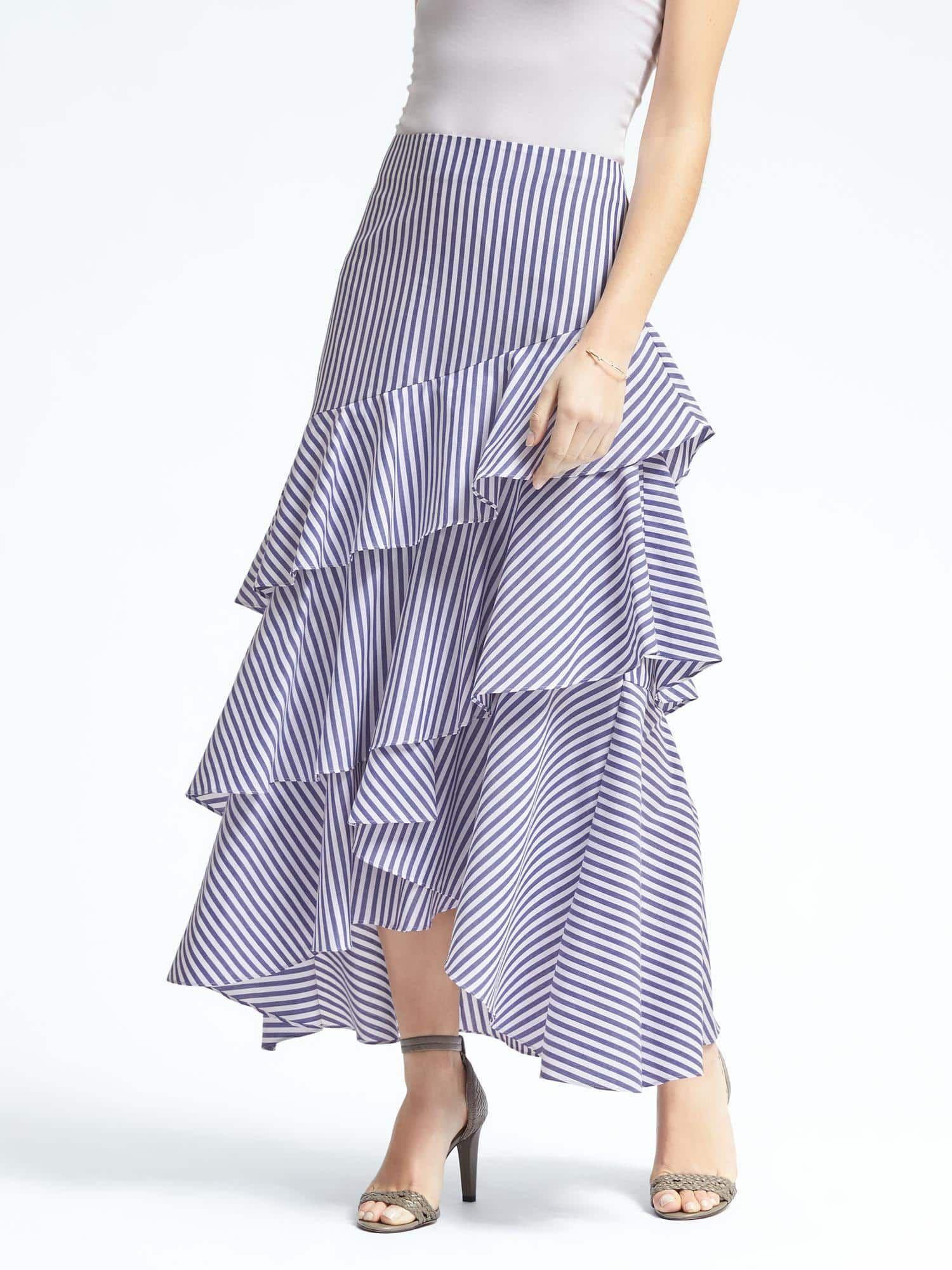 Banana republic tiered ruffled maxi skirt my style