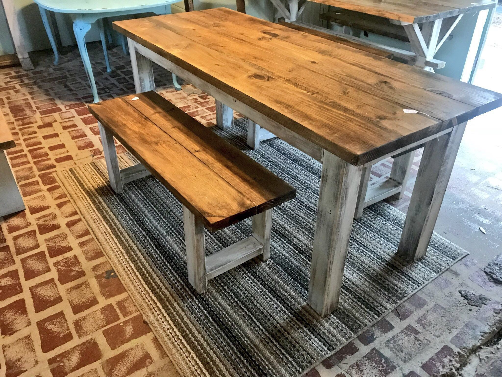 Prime Rustic Wooden Farmhouse Table Set With Provincial Brown Top Machost Co Dining Chair Design Ideas Machostcouk