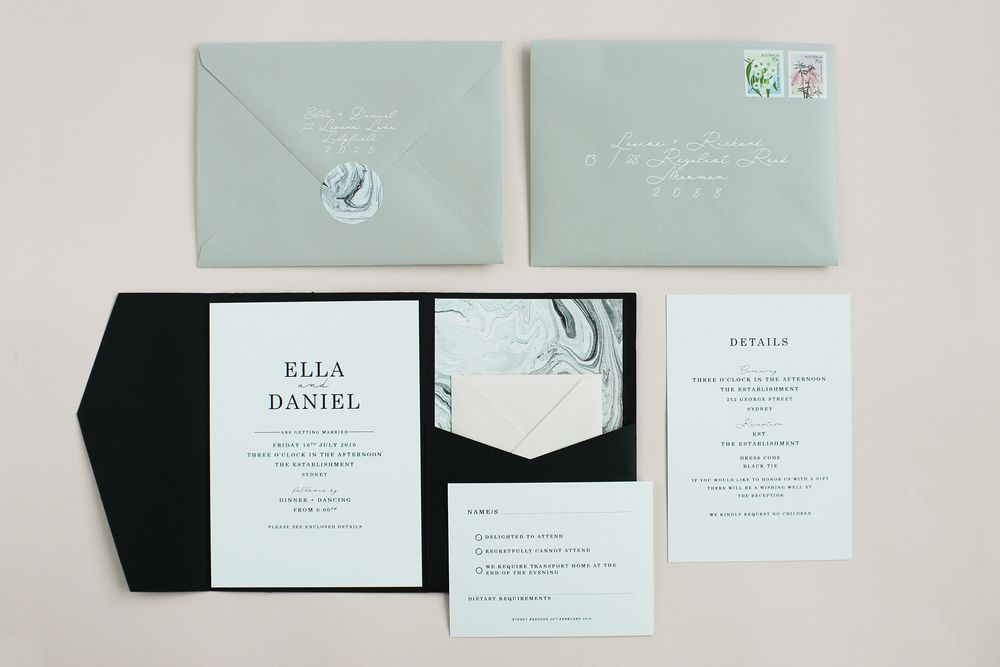 Noir et Blanc wedding invitations by THE