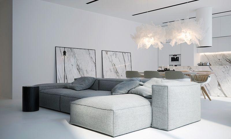 intérieur blanc moderne- salon avec grand canapé d\'angle modulable ...