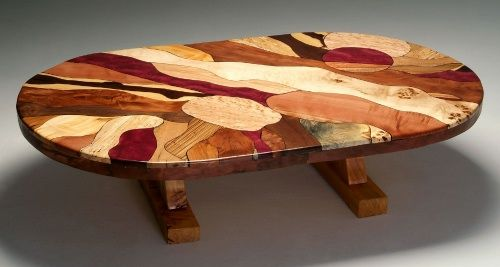 Natural Furniture Mosaic Burl Wood Coffee Table with Juniper Base