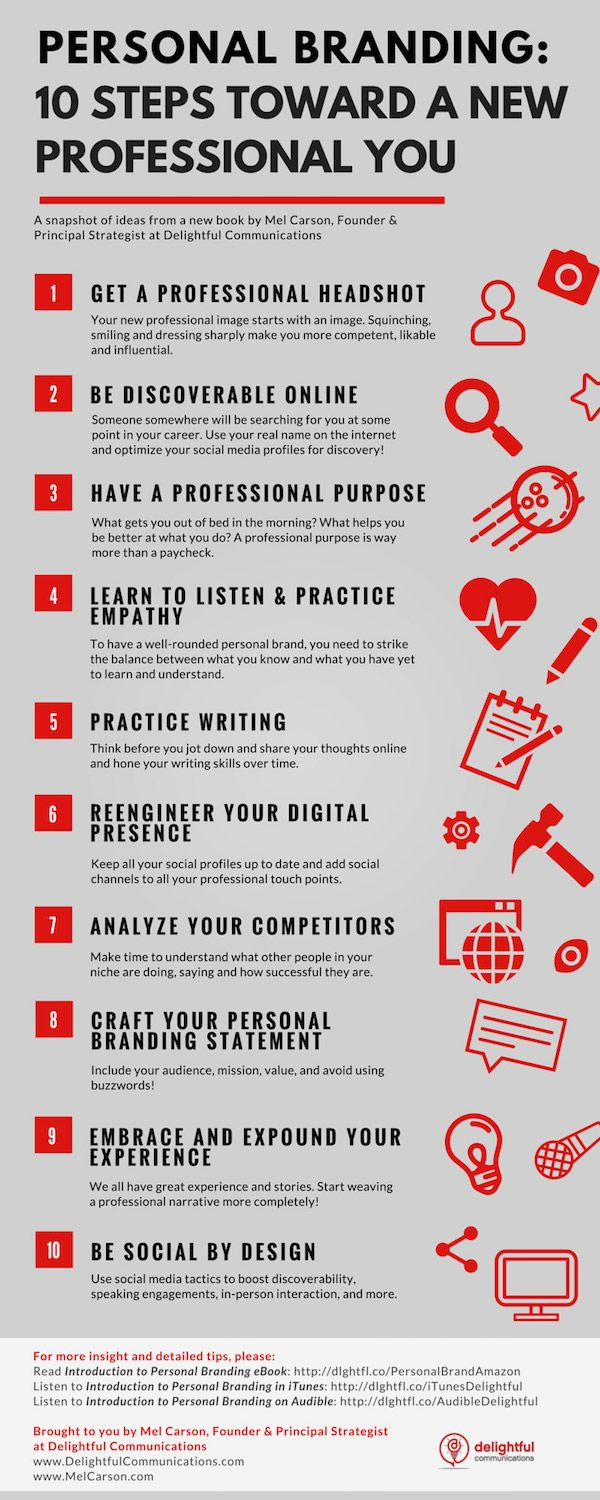 Infographics Build A New Professional Personal Branding In 10 Steps Personal Branding Branding Personal Branding Strategy