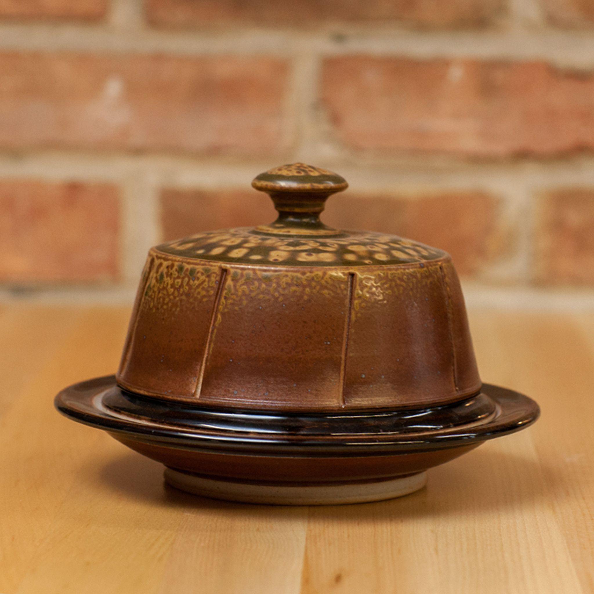 Cheese Dome in Brown Ash   Black Glaze