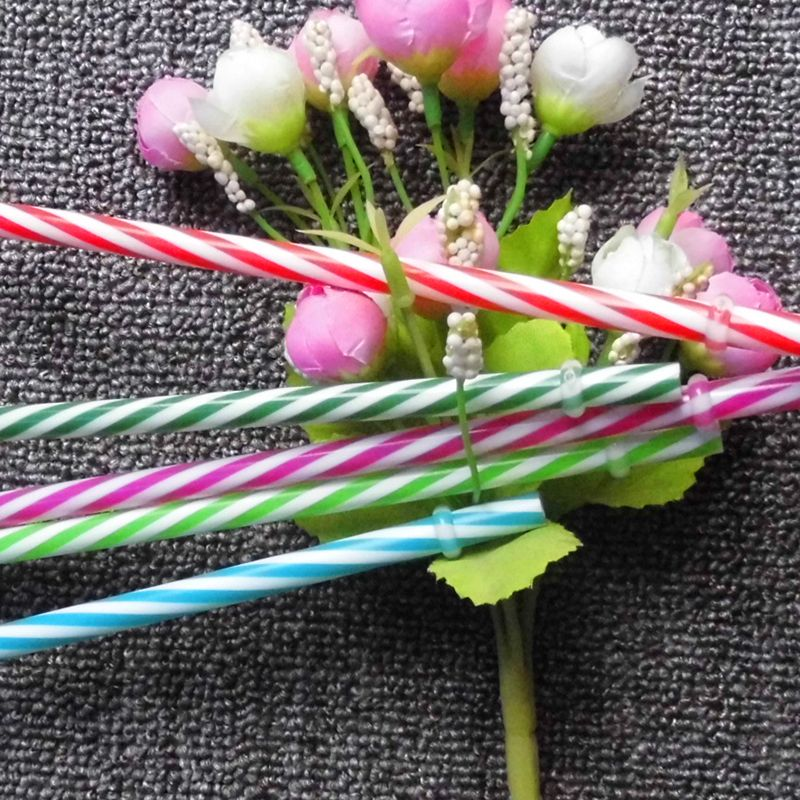 Hot Sale Reusable Biodegradable Distored Color Beverage plastic Striped drinking Straws(100pcs/lot)
