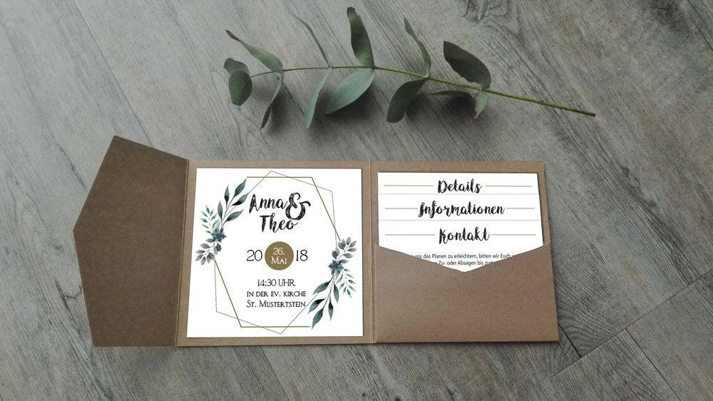 Einladungskarten Pocketfold Einladung Modern Geometrics Ein Designerstuck Von Gluecksmomente By Kaethe Hochzeitseinladung Einladungen Hochzeit Einladungen