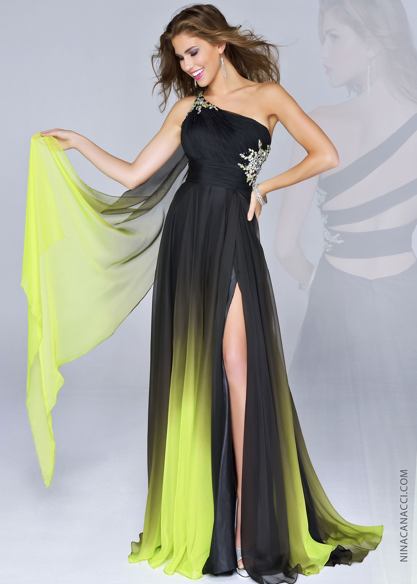 Nina canacci blacklime ombre one shoulder beaded prom dresses