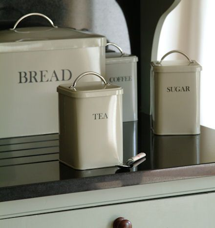 Superior Tea, Coffee, Sugar Storage Canisters For The Kitchen In Cream