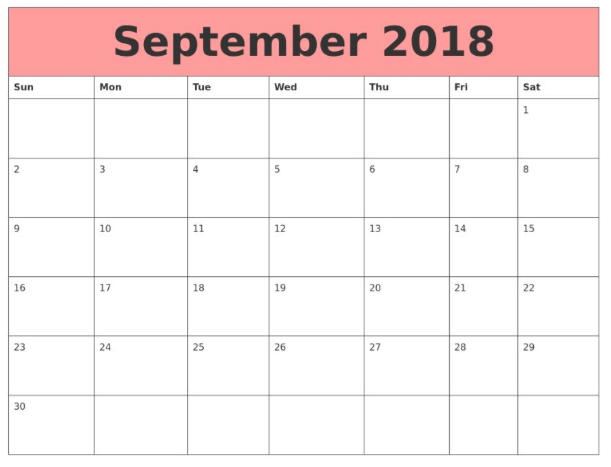 Printable September 2018 Calendar Pink September 2018 Printable