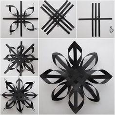 How to DIY Pretty Weave Paper Star Snowflake #floconsdeneigeenpapier