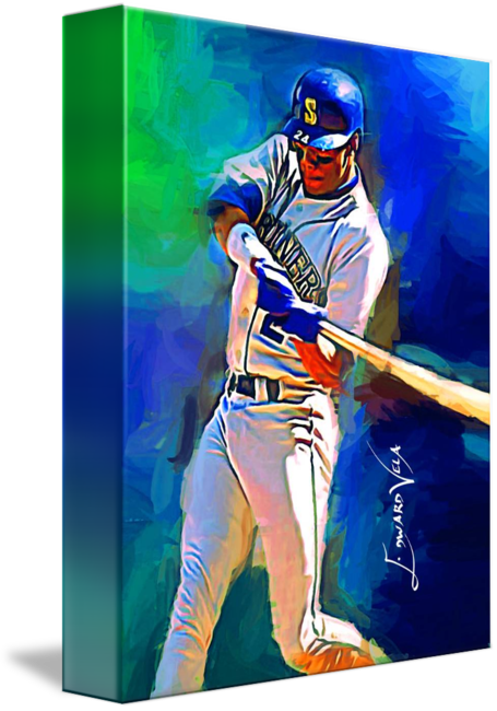 fcab343ee9 Ken+Griffey+Jr++Art+by+Edward+Vela | Stuff | Baseball art, Ken ...
