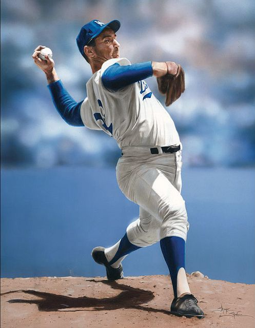 Photo of Sandy Koufax 20 x 20 in. acrylics and colored pencil on illustration board by Shane Stover