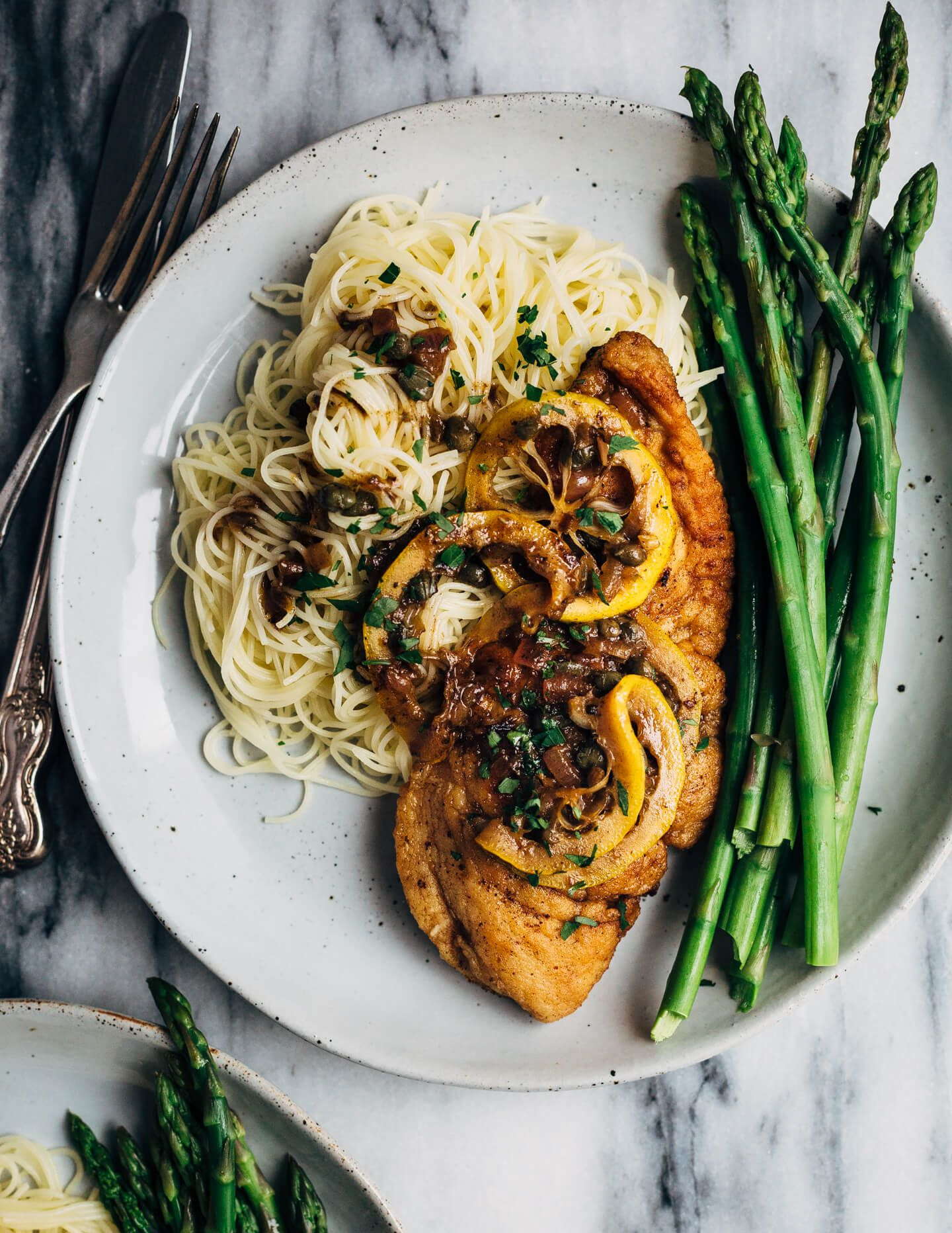 Chicken Piccata with Angel Hair Pasta and Asparagus | Rezept ...