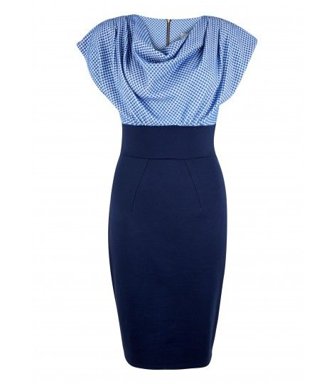 Blue and Navy Polka Contrast Cowl Neck Dress - Dresses - Clothing