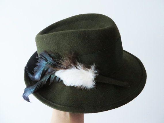 55165868e Tyrolean Hat Vintage 1980s Khaki Fedora Hat Austrian Felted Wool ...