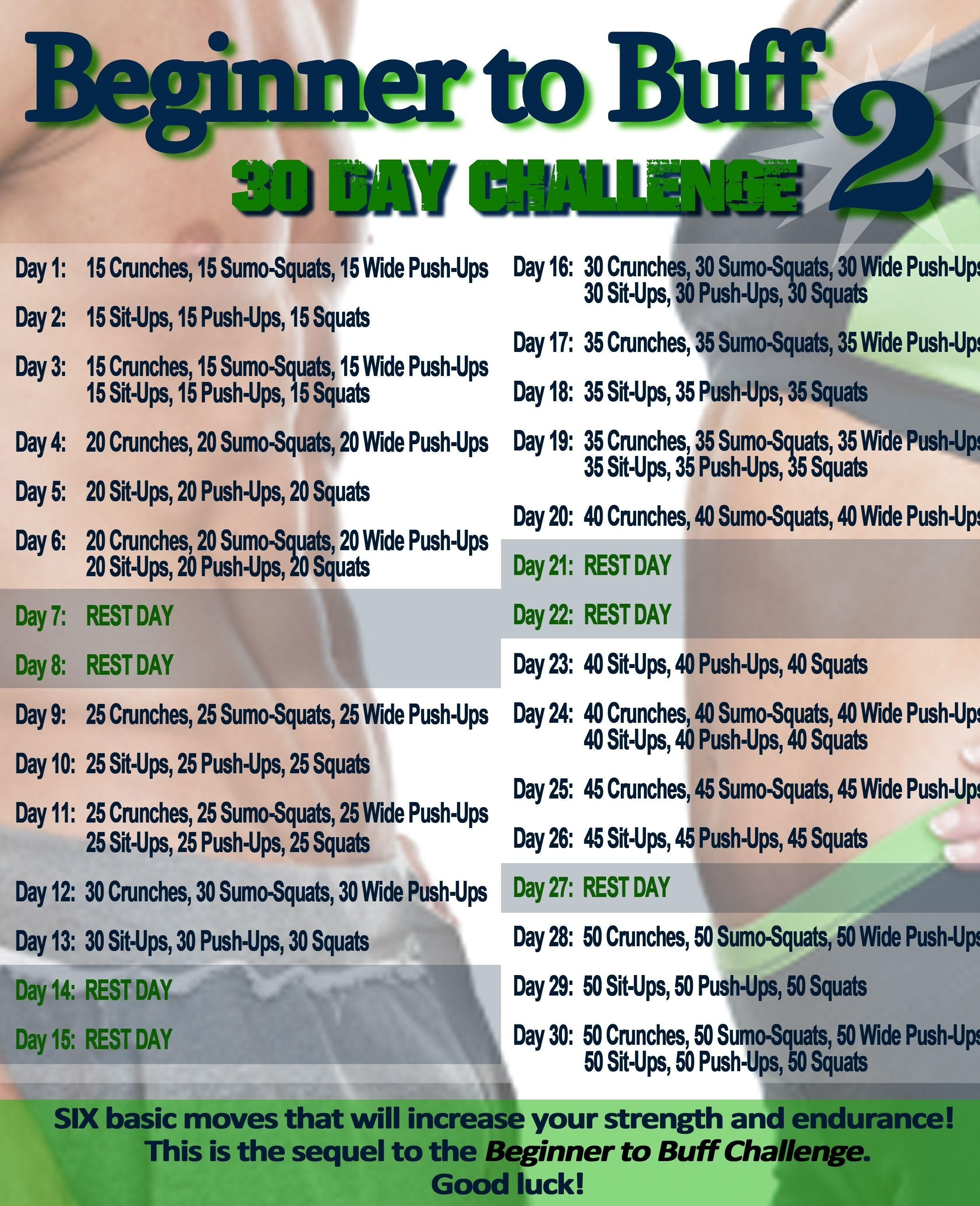Beginner to buff 2 30 day fitness 30 day workout